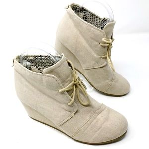 Call It Spring Beige Canvas Wedge Ankle Boots 7